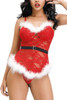 Christmas Santa Baby Red Lace White Marabou Camisole Babydoll Plus Size