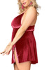 Vicky Maroon Velour Luxe Side Slit Chemise Plus Size