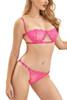 Bella Neon Pink Balconette Bra Thong Lingerie Set
