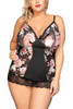 Florence Floral Sheer Mesh Chemise Plus Size