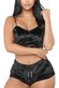 Viola Black Velvet Cami and Shorts Lingerie Set Plus Size