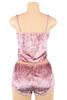 Viola Pink Velvet Cami and Shorts Lingerie Set