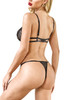 Eula Black Lace Strappy G string Thong Teddy Bodysuit