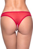 Red Pearl Beaded Crotchless Embroidered Lace Thong Panty