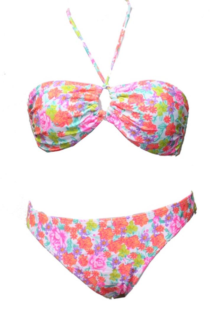 Floral Oring Bandeau Padded Bikini  - UK12 MEDIUM