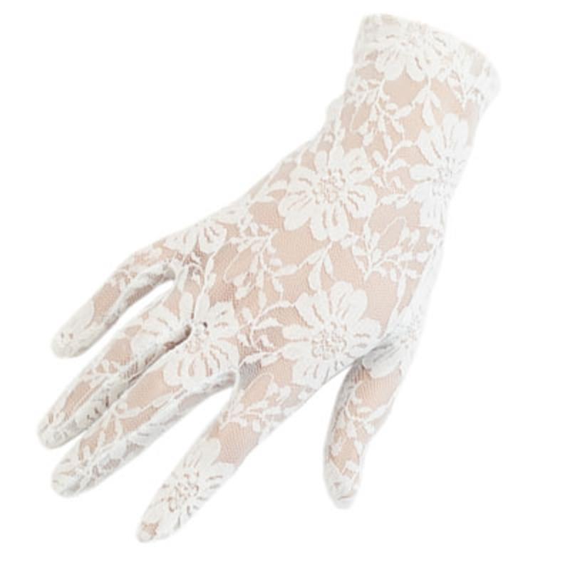 White Lace Short Wrist Length Gloves