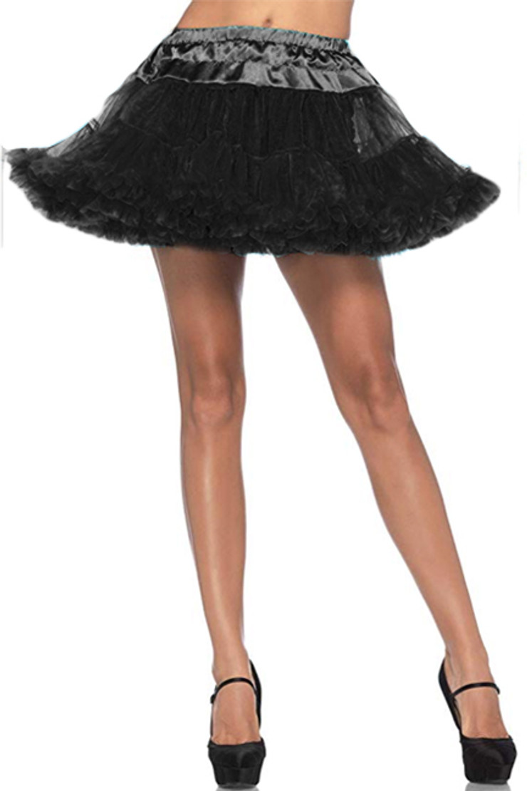 Black Plain Ruffle Petticoat Tutu Skirt
