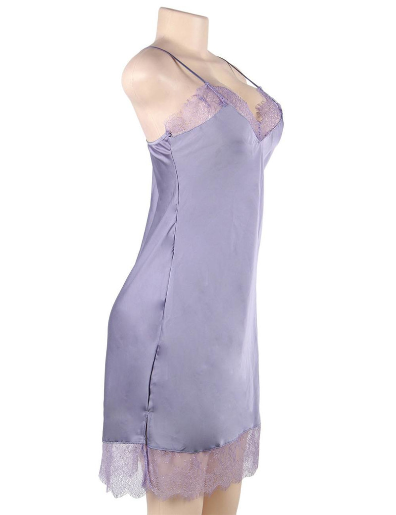 Mabel Lavender Satin Sleep Chemise