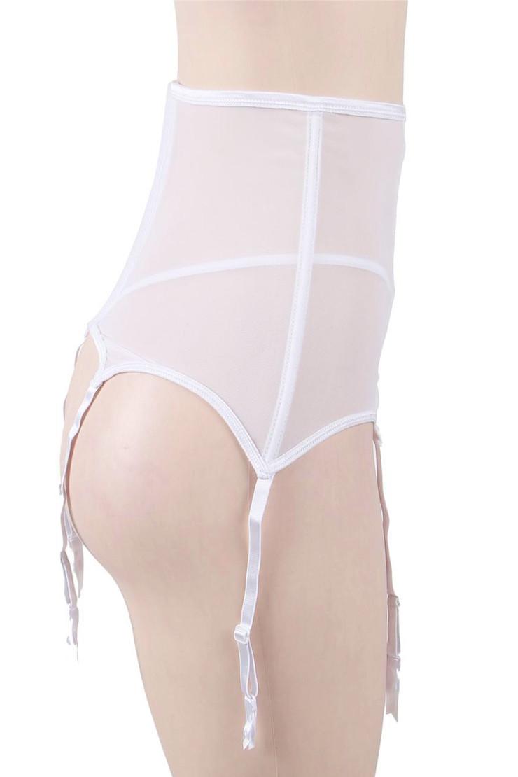 Tori White Floral Sheer Highwaist Garter Belt Thong Set