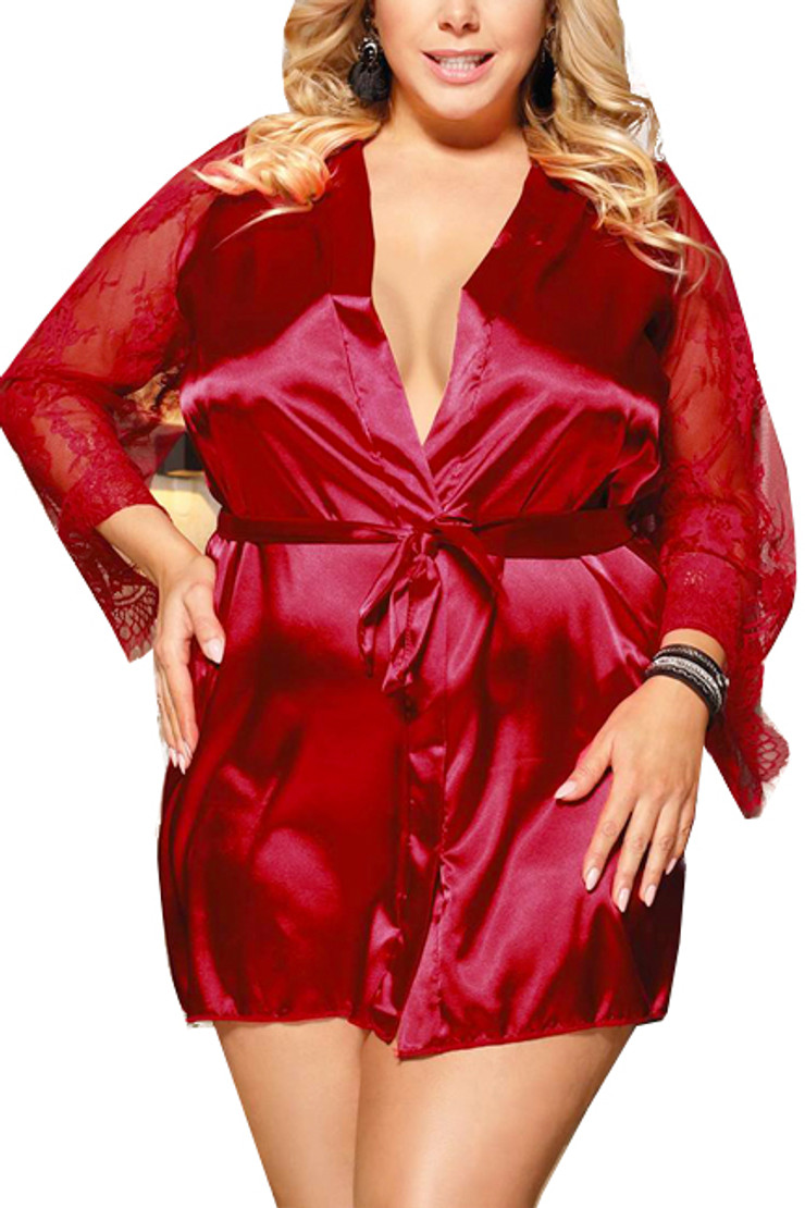 Emy Red Satin Lace Sleeves Robe Set Plus Size