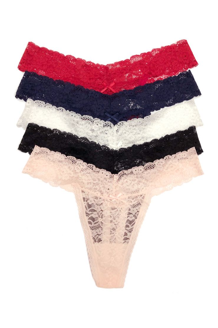 Red Vera Low Rise Classic Lace Thong