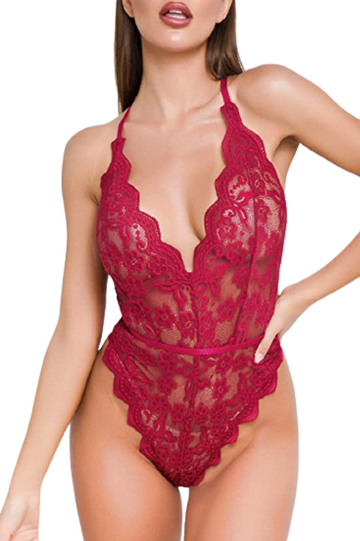 Olive Maroon Halter Scallop Lace Backless Bodysuit Teddy