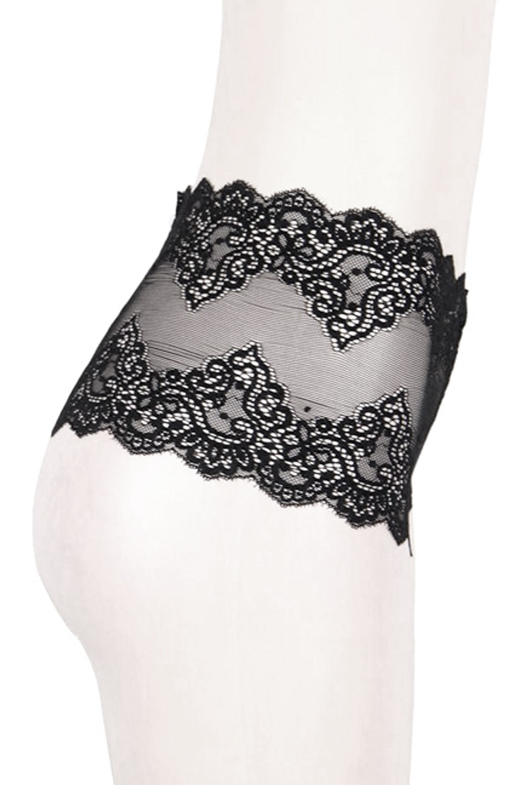Black Sheer Lace Brazilian Cheeky Mid Waist Panty