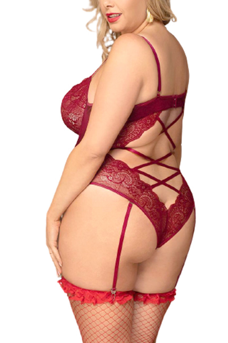 Bridgette Red Lace Underwire Velvet Garter Teddy Plus Size