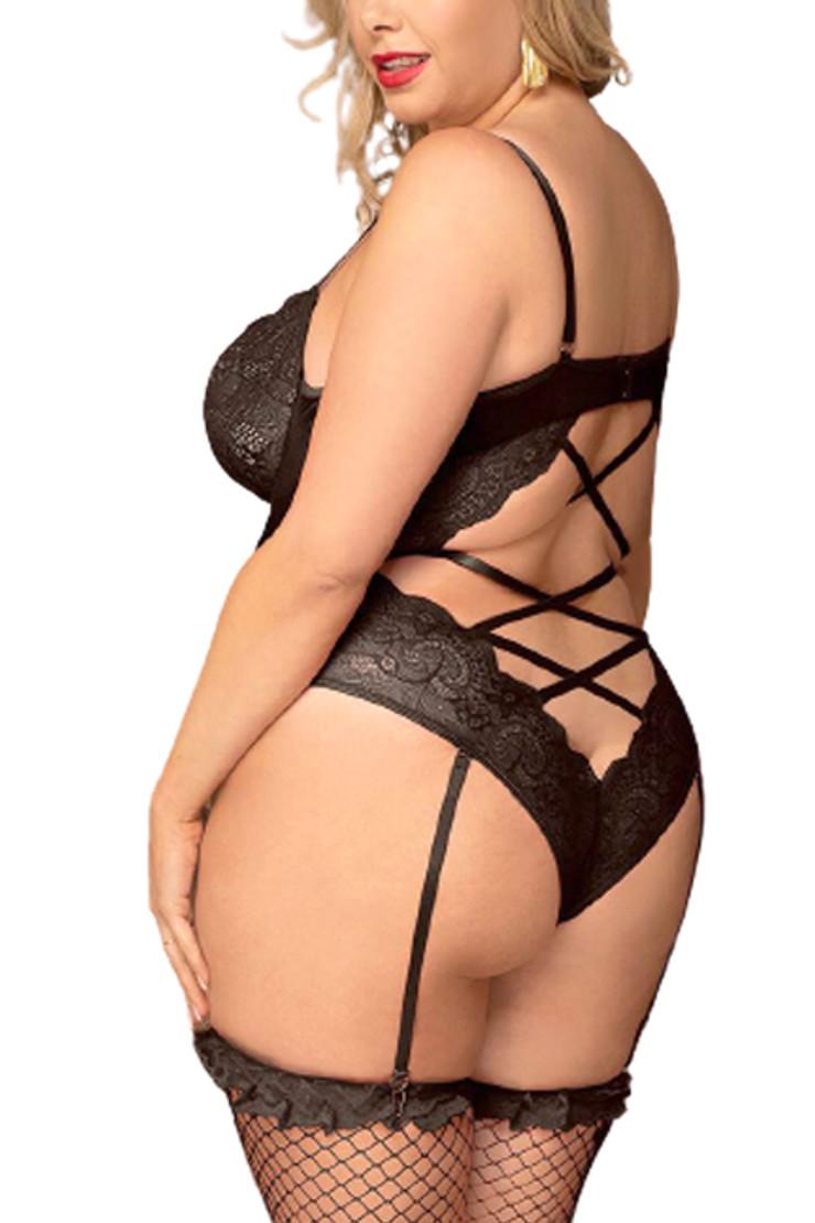 Bridgette Black Lace Underwire Velvet Garter Teddy Plus Size