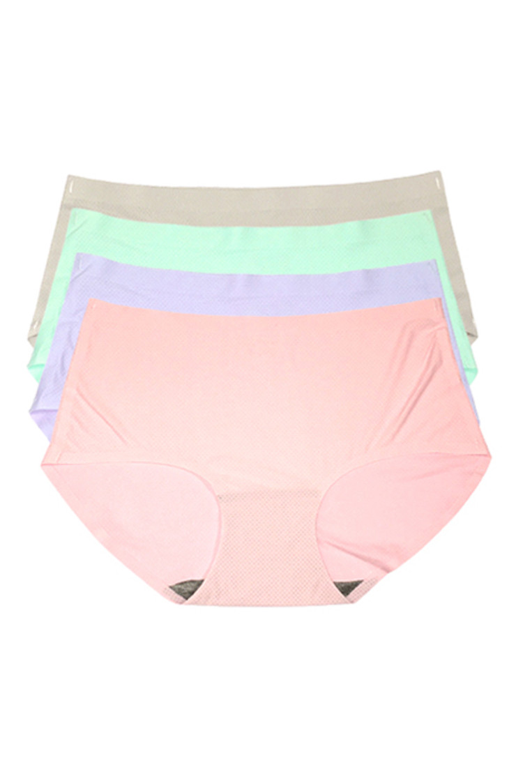 Pastel Color Seamless Midrise Air Cool Breathable 4 pack Panties