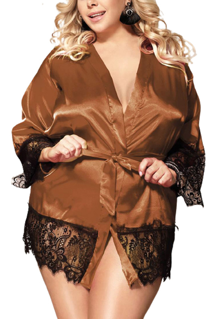 Veronica Brown Satin Black Lace Trimmed Robe Set Plus Size