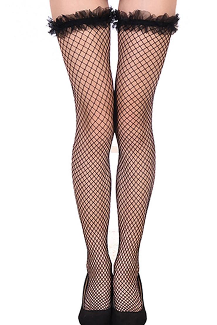 Black Ruffled Tulle Top Fishnet Thigh Stockings