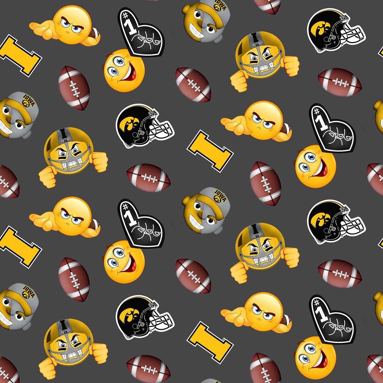 Iowa Hawkeyes Emoji Fleece Design College Fabric Store