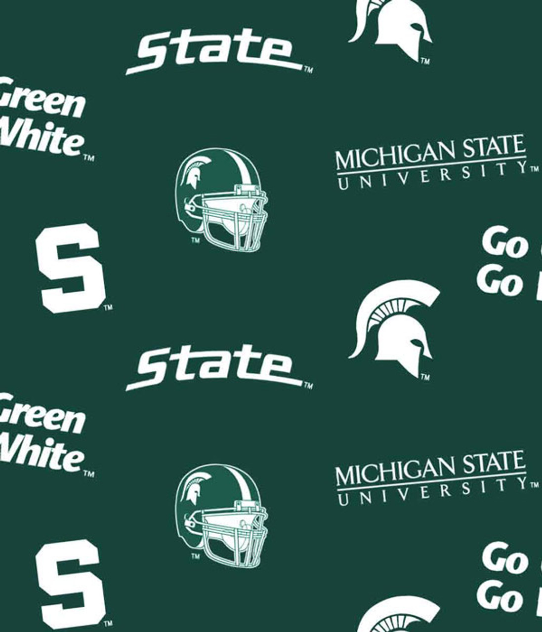 Collegiate Cotton Broadcloth Michigan State Fabric By The Yard