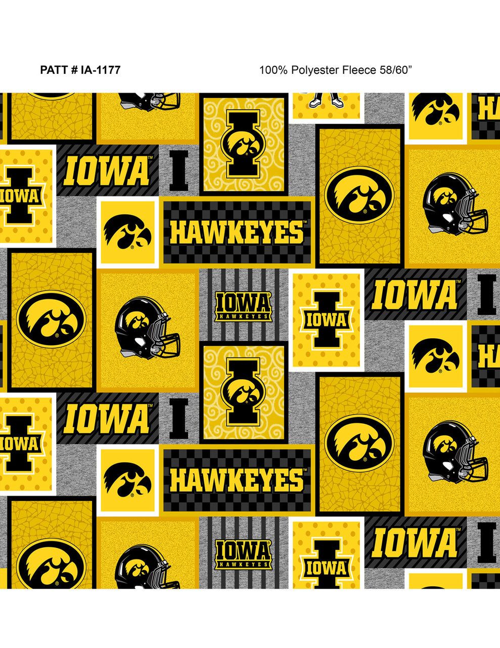 University Of Iowa Fleece Fabric With College Patch Design Sold By