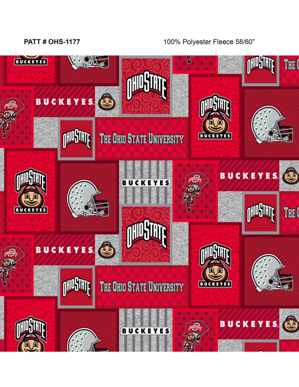 Ohio State University Fleece Fabric With College Patch Design Sold