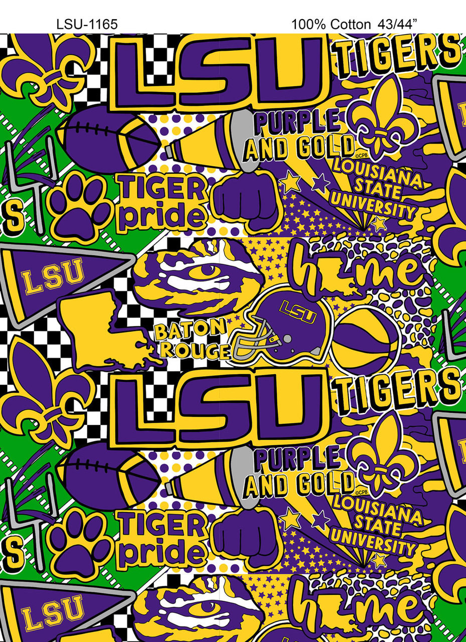 best service 94bde 9407a LSU Tigers Pop Art Graffiti Print Cotton Fabric-Sold by the yard