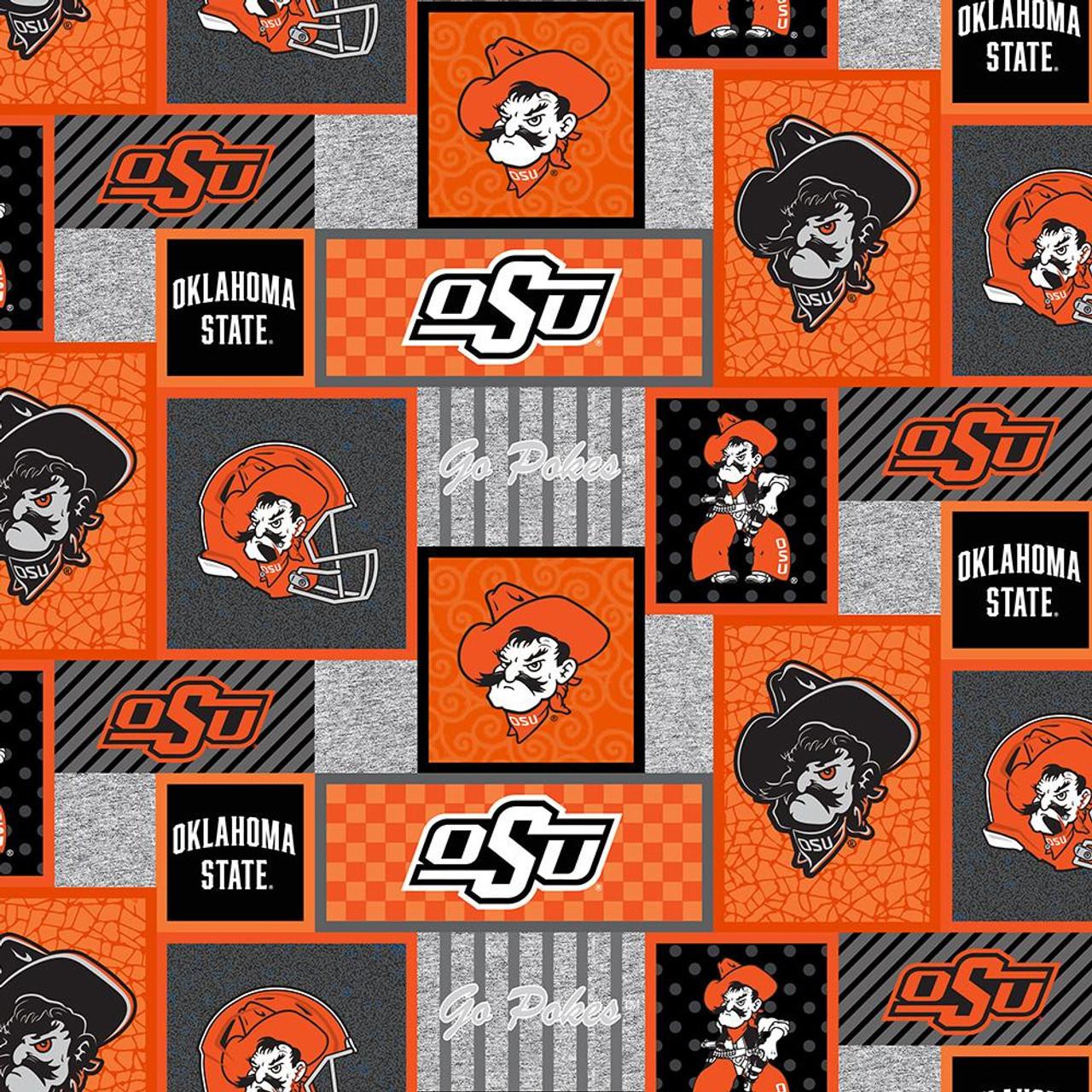 NCAA Oklahoma State University OSU Cowboys Orange Fleece Fabric by the Yard