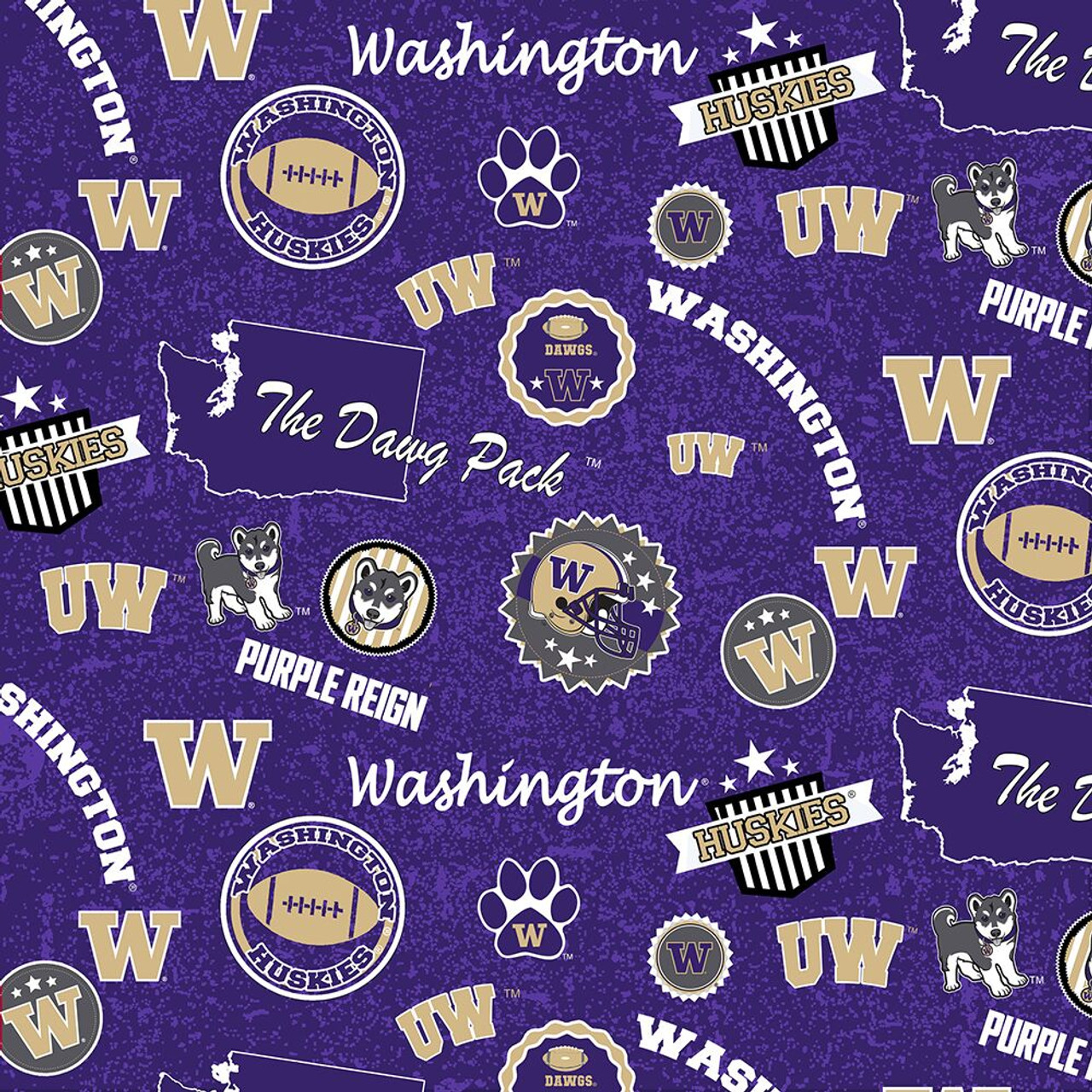 University Of Washington Cotton Fabric With Home State Cotton Design Sold By The Yard College Fabric Store