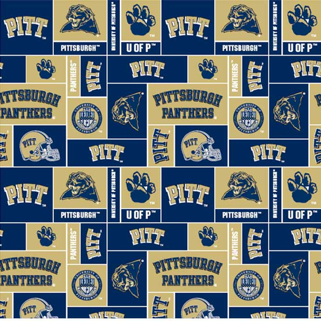 University Of Pittsburgh Fabric Super Soft Fleece Classic Geometric Design Sold By The Yard College Fabric Store