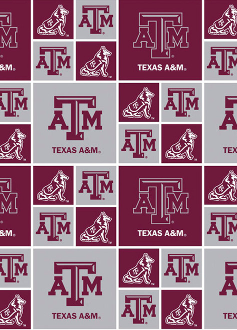 Texas A And M University Fabric Fine Cotton Classic Geometric Design Sold  By The Yard