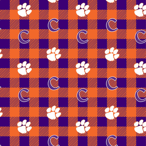 8020bead7a1 Clemson Tigers Fleece Fabric with Buffalo Plaid design-Sold by the Yard