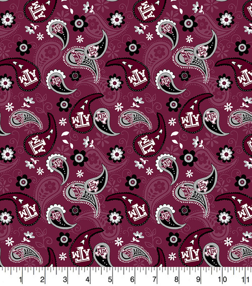 6b9b7808e Texas A M Aggies Paisely Cotton Fabric-Sold by the Yard