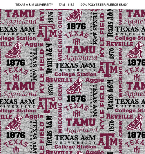 Texas A M University Fleece Fabric With Verbaige Pattern Sold By The Yard