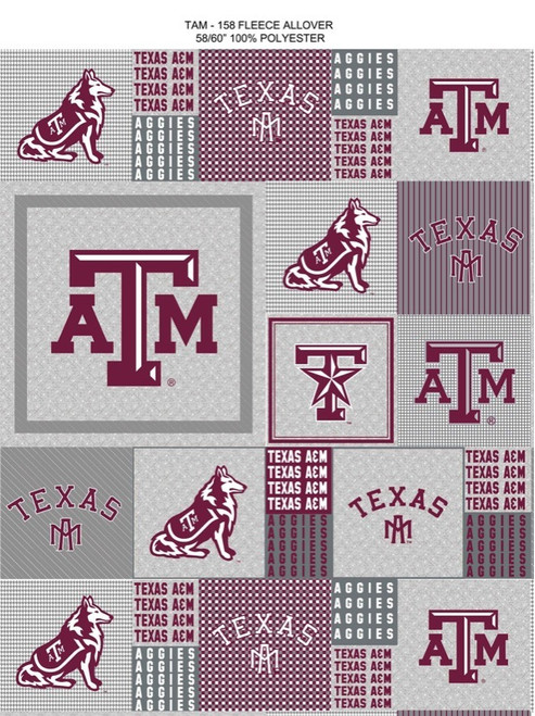 bf616cdbb Texas A and M University Heather Grey Printed Fleece Fabric-Sold by the Yard