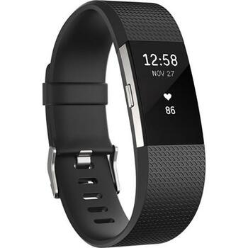 Fitbit Charge 2 Heart Rate + Fitness Tracker Wristband, Small, Black/Silver