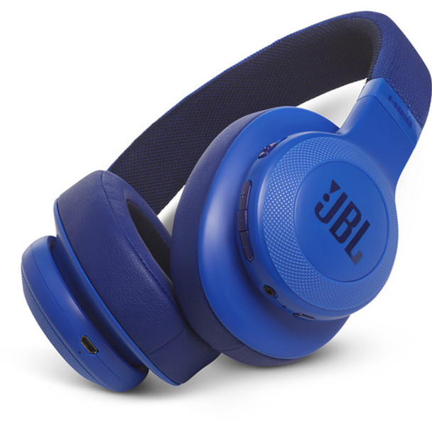JBL E55BT Bluetooth Over-Ear Headphones (Blue)