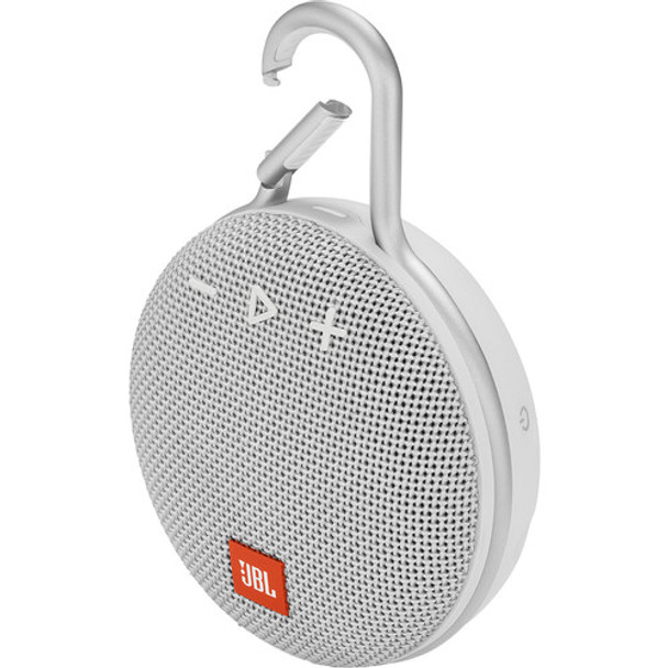 JBL Clip 3 Portable Bluetooth Speaker (White)
