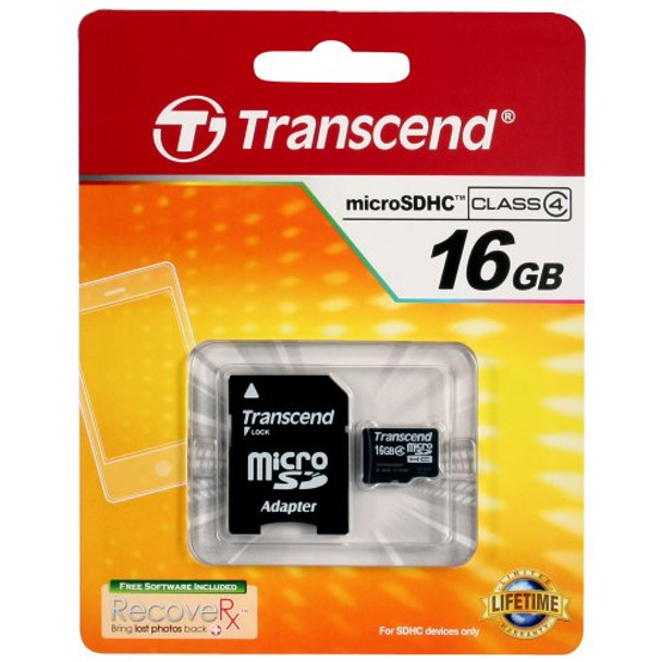 Transcend 16GB Micro SDHC Memory Card with SD Adapters