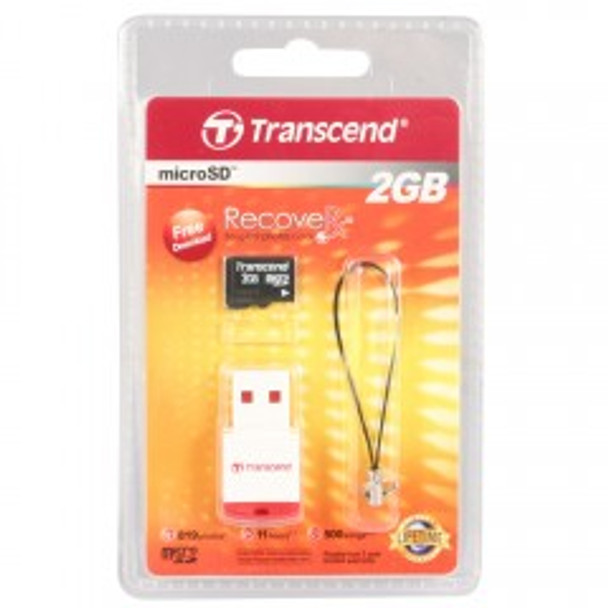 Transcend 2GB micro SD Memory Card with P3 Card Reader