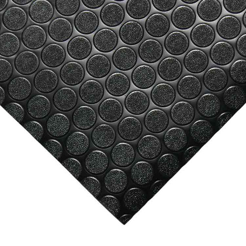 Corner of black coin grip pvc flooring