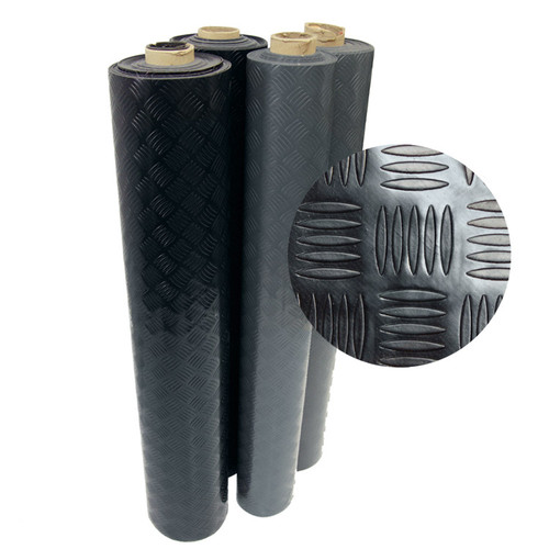 Two Diamond-Grip Rolled PVC Matting, one black roll and one gray roll
