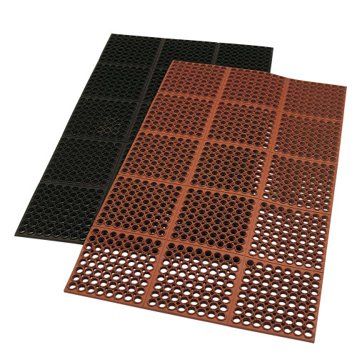 Red mat stacked on black Dura-Chef 7/8 inch Anti-Fatigue Kitchen Mat.