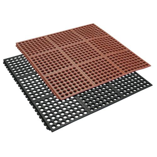 Red mat stacked on black Dura-Chef Interlock Rubber Kitchen Mat.