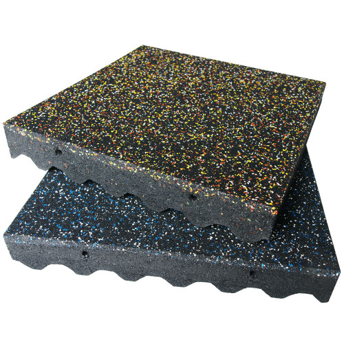 Speckled and black stacked Eco-Safety 3-inch Rubber Playground Tiles
