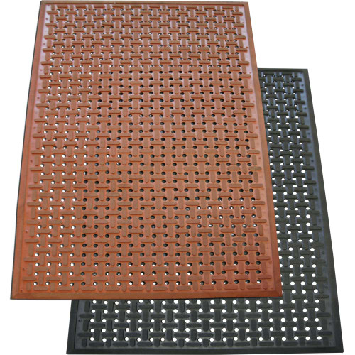 A red and a black Kitchen Grease-Resistant Rubber Mat