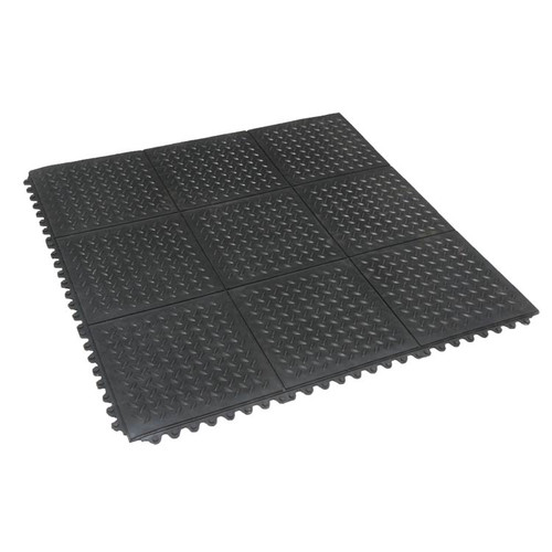 3-by-3 interlocked Revolution Diamond-Plate Floor Tiles