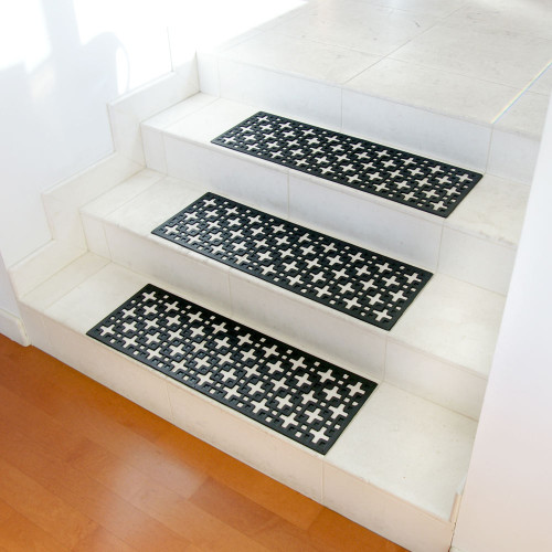 Stars Rubber Stair Treads shown on three white steps