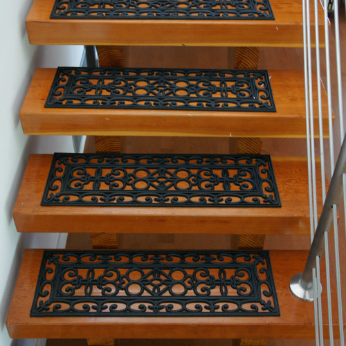 Front view of stairs featuring Regal Rubber Non-Slip Stair Mats