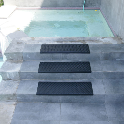Front view of stairs featuring Coin-Grip Rubber Step Mats